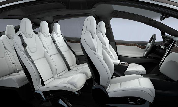 L'intérieur tout de blanc vêtu du Tesla Model X.