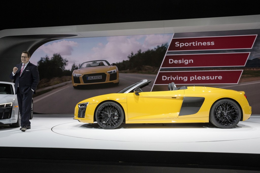 Dr. Dietmar Voggenreiter, Board of Management Member Sales and Marketing of AUDI AG, presenting the new Audi R8 Spyder.