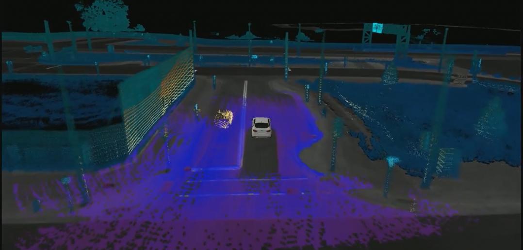 L'environnement de la voiture vu par le radar LiDAR.